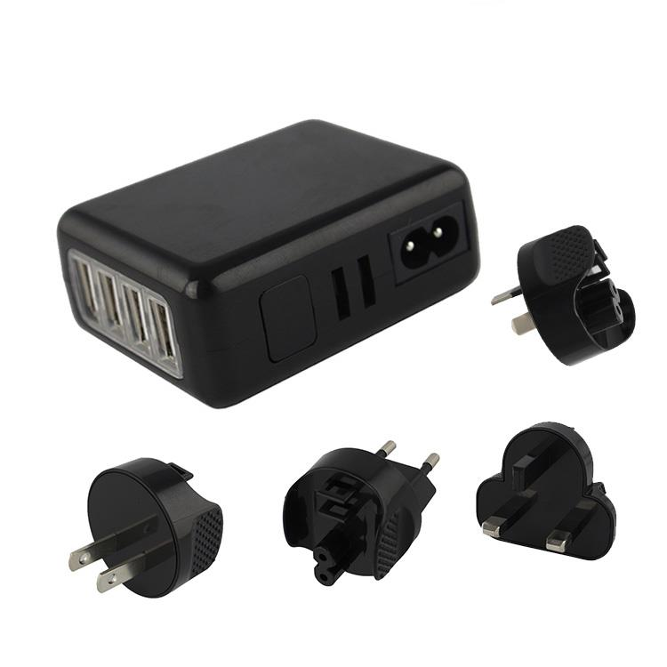4 USB Power Adapter Travel Charger [6A] 4 Port 30W