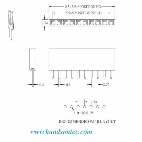 40x1 Pin Straight SIL Female Pin Header Connector