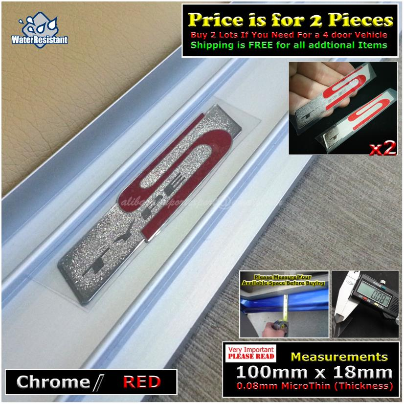 4148S TYPE S Chrome Red Car Door Sill Scuff Plate Decal Badge Emblem S