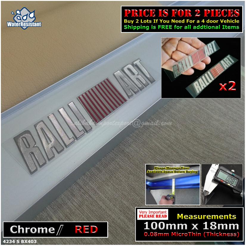 4234S RALLIART Chrome Red Car Door Sill Scuff Plate Decal Badge Emblem