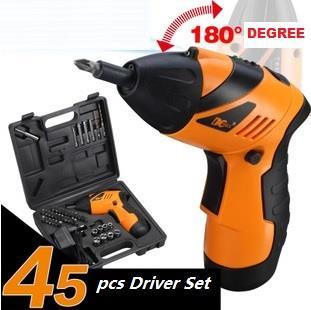 45PCS Cordless  Screwdriver Drill Set 180° Foldable LED Light