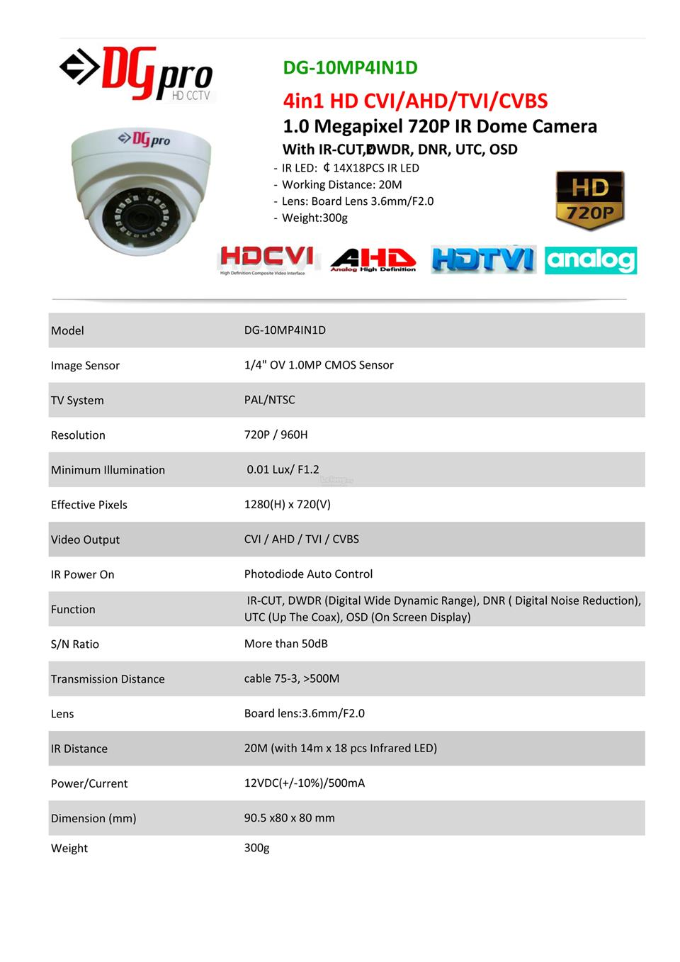 4CH HD 720p CVI CCTV Camera + Recorder Package