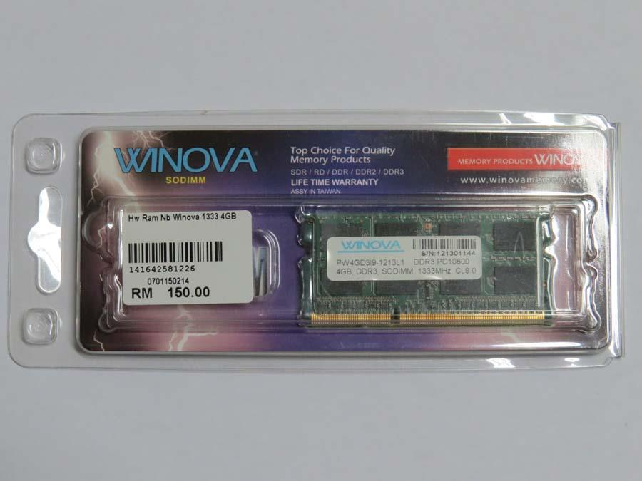 4GB DDR3 PC10600 SODIMM, 1333MHZ CL9.0