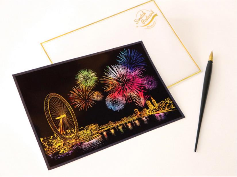 [4pcs in 1 Price]SCRATCH NIGHT VIEW postcard