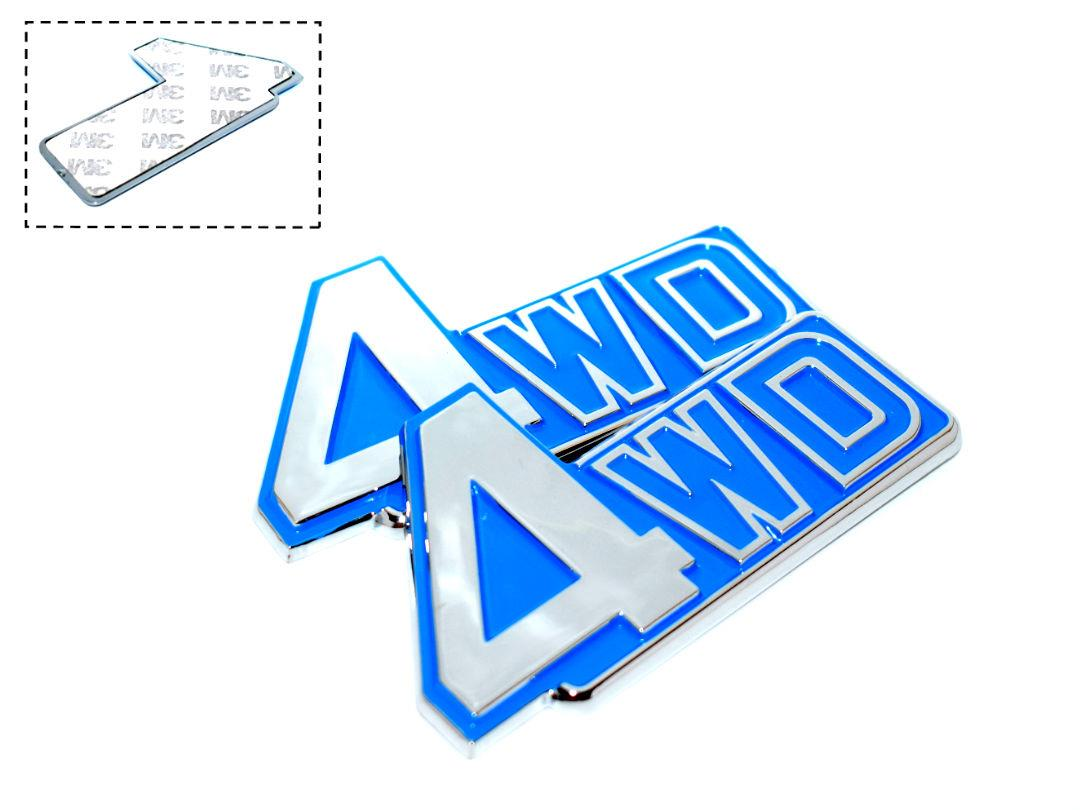 4Wd Blue Chrome Badge Emblem Logo Fender Chromed 3D Car Auto  MHE-DXI