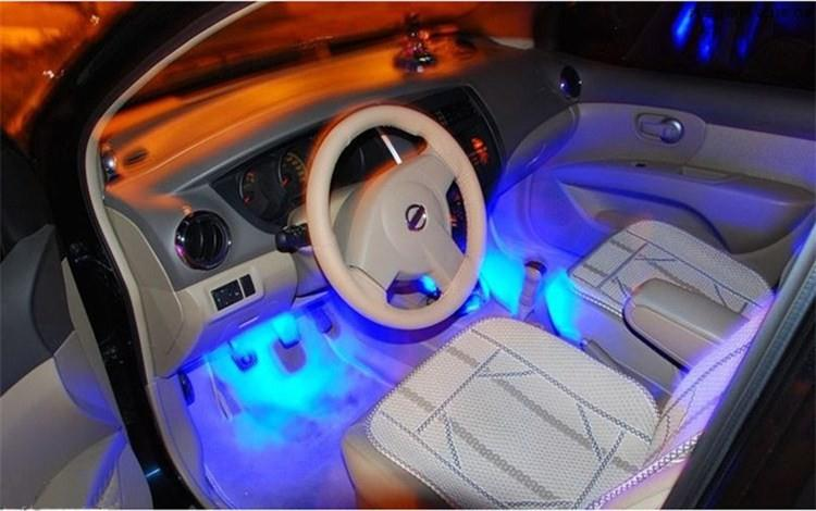 4x 3LED Blue Car Charge interior accessories foot car decorative 4in1