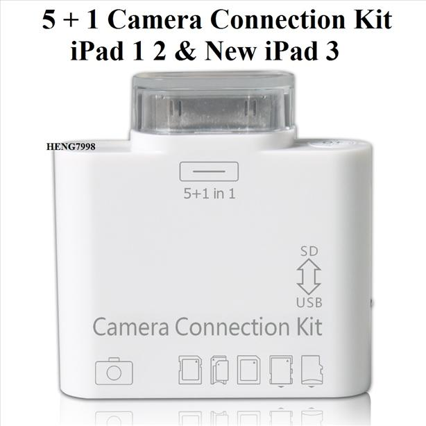 5+1 Camera Connection Kit iPad 1 2 New iPad 3 4 mini (USB+Card Reader)