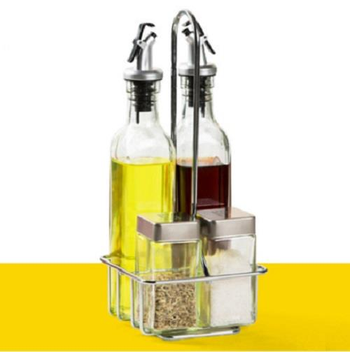 5 in 1 include Rack : Salad Dressing Glass Canister Set (KTN0073)