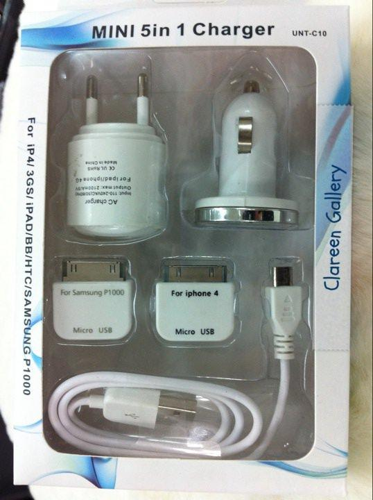 5 in 1 Travel & In car charger iPhone 4 iPad Samsung Galaxy Tab