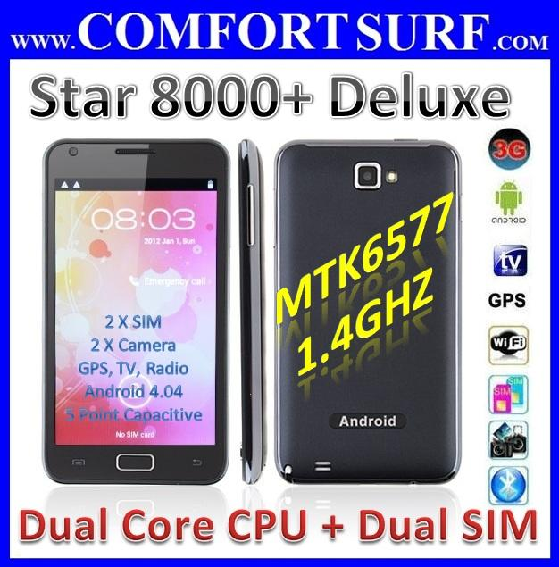 5' Dual SIM 3G N8000+ Deluxe Android 4.04 ICS TV GPS SmartPhone Tablet PC