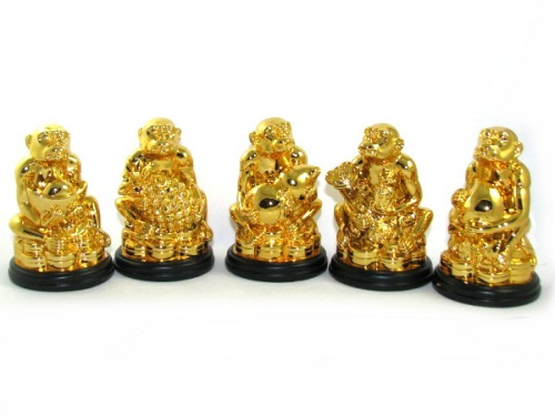 5 Good Fortune Golden Monkeys Statues Chinese New Year 2016 home decor