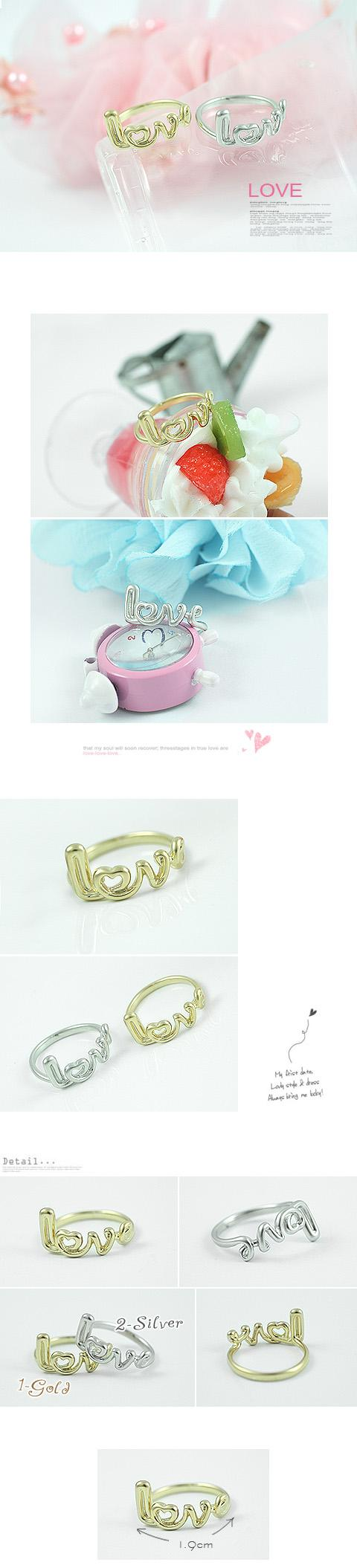 5 for RM30 Trendy Ladies Love Letter Fashion Rings