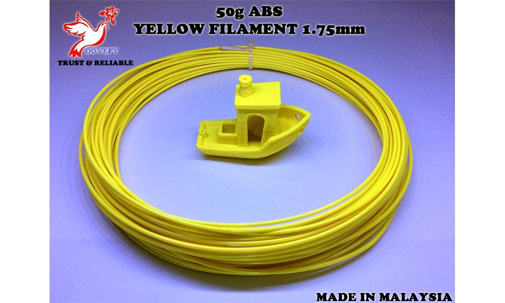 50g_High Grade ABS Yellow Filament 1.75mm