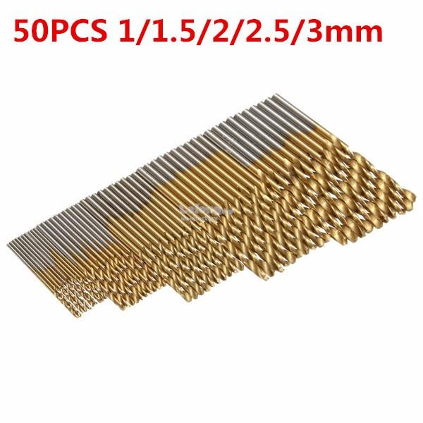 50PCS 1/1.5/2/2.5/3mm HSS Titanium Coated High Speed Steel Drill Bit