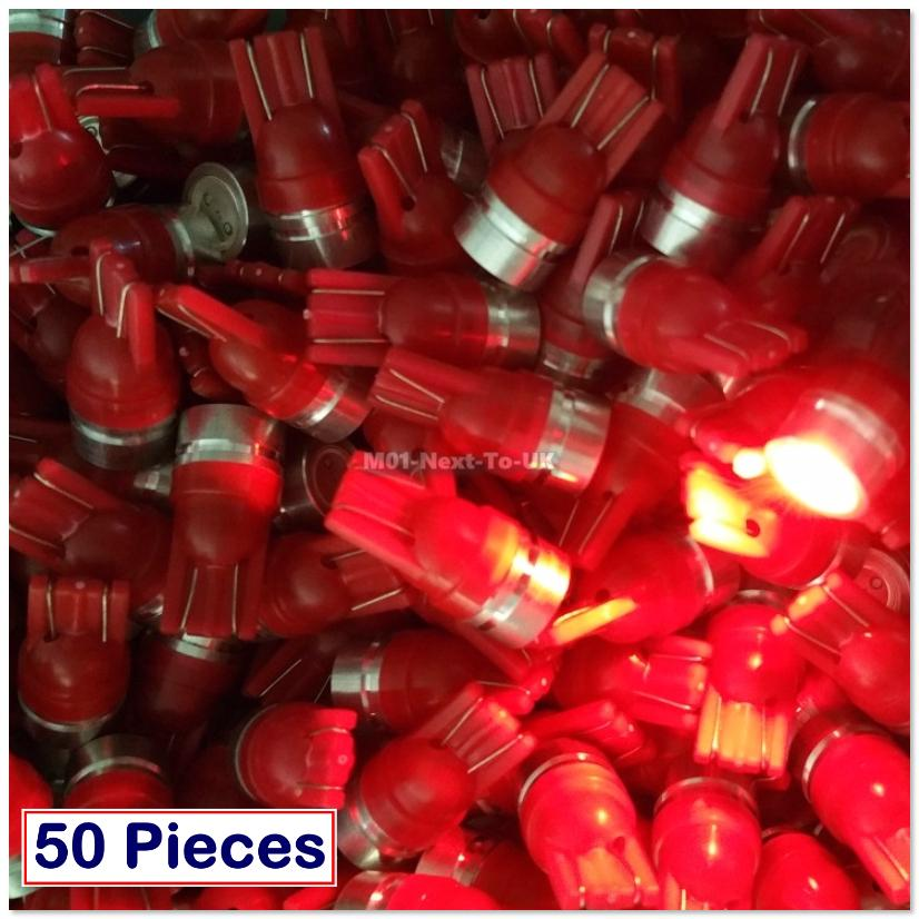 50x RED T10 COB Bulb SMD Light HID LED 501 W5W Aluminum Shell Lamp