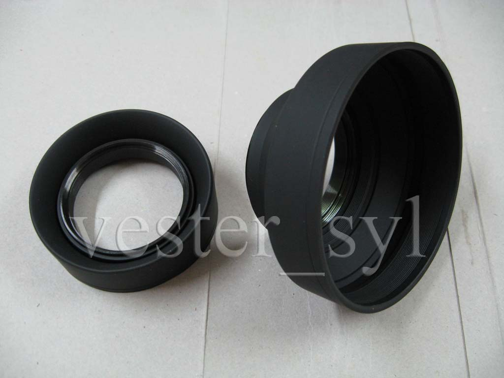 52mm or 58mm Collapsible Rubber Lens Hood (Screw-In Type) New