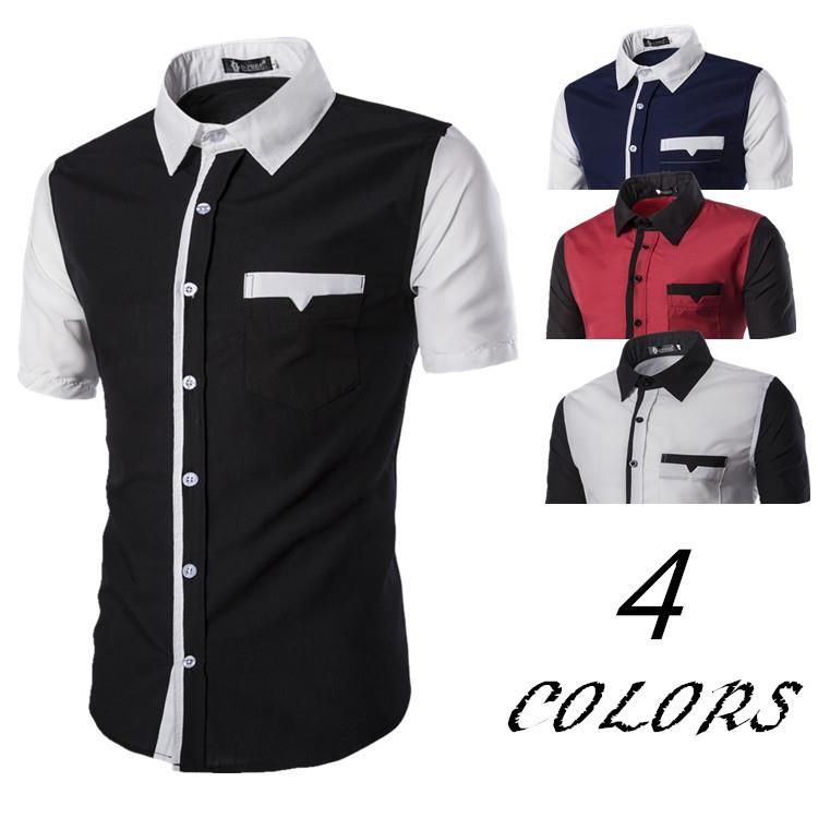 [5855]Men's Fashion Assorted Color Short-Sleeved Shirt