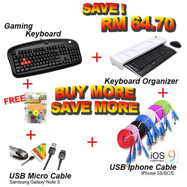 5in1 BEST BUNDLE! Gaming Keyboard+USB Cable+Keyboard Organizer + FREE