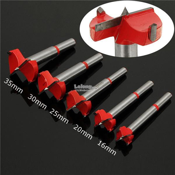 5pcs 16-35mm Forstner Boring Hole Saw Cutter Woodworking Drill Bits 16