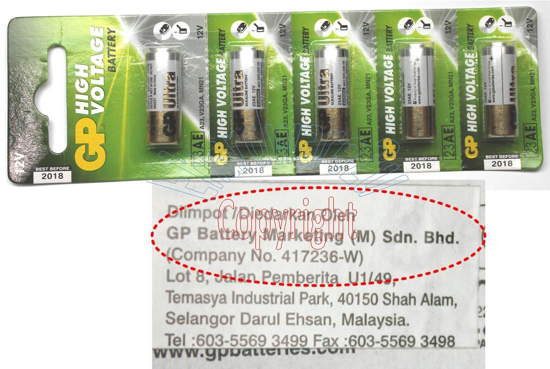 5PCS GP 23AE 12V BATTERIES 100% Original (GP23AE)