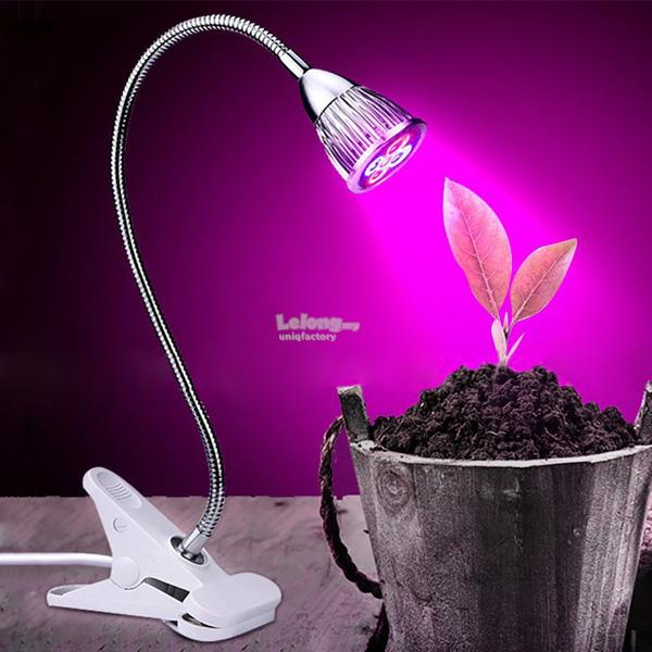 5W 220V Desktop Clip Flexible Neck 5 LED Plant Grow Light for Indoor