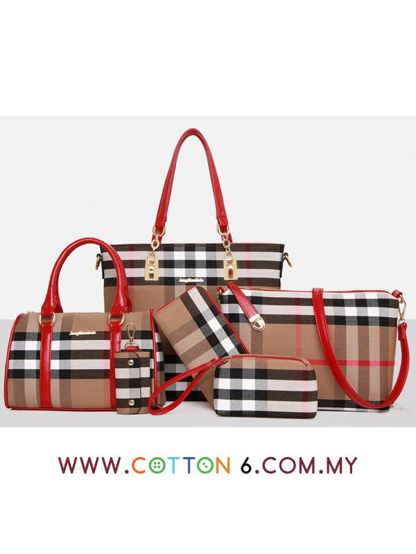 6 in 1 Checkered Design Bags