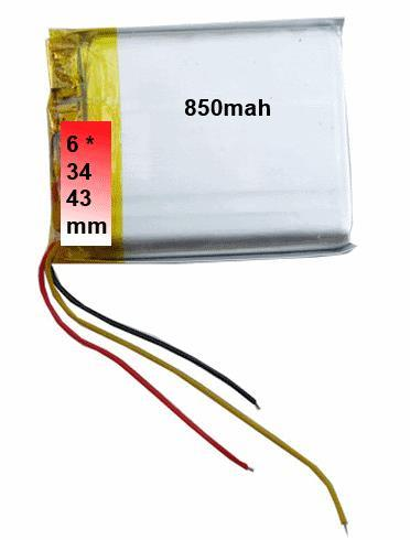 6*34*43 mm 850mah 4.3 GPS replacement Lithium Ion 3.7V battery