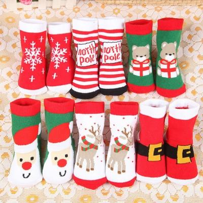 6 Pair Kids Anti Slip Winter baby socks Christmas Thick Terry Baby Boy