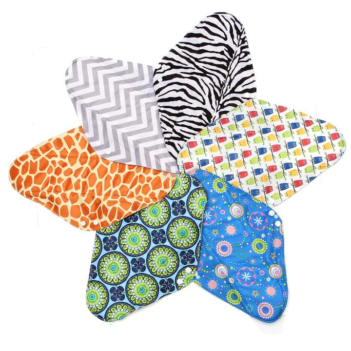 6Pcs 14'' Reusable Charcoal Bamboo Cloth Menstrual Sanitary Pads Panty
