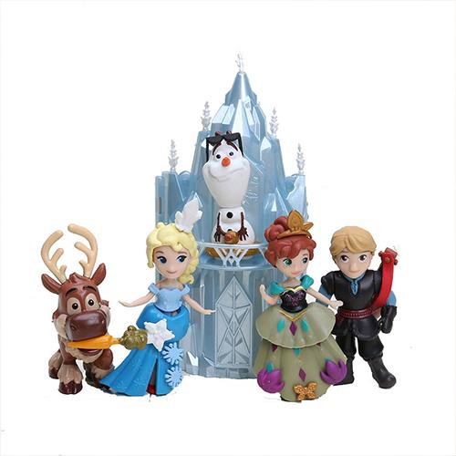 6pcs Q Version Elsa Anna Olaf Action Figure Doll Cake Decor Topper PVC