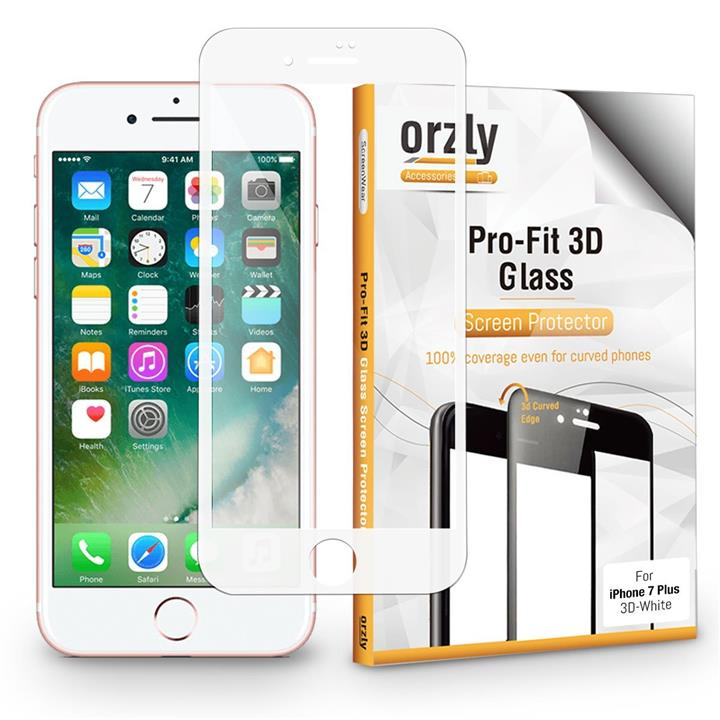 [7/7Plus] Orzly 3D Pro-Fit Full Cover Tempered Glass for iPhone 7/7+