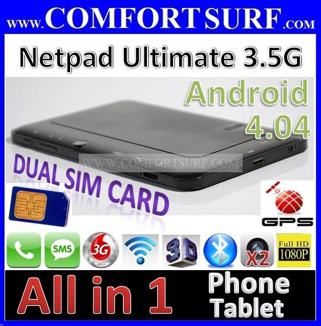 7' Android 4.04 ICS MTK6575 Netpad Ultimate 3G HDSPA GPS Tablet PC Ain
