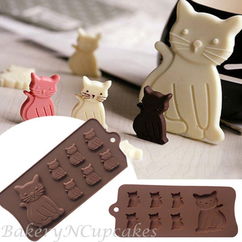 7 Cavity Cute Cat Silicone Chocolate Baking Mould