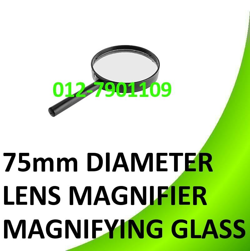 75mm Diameter Lens Handle Straight Shank Reading Magnifier Glass