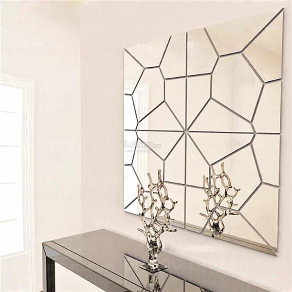 7Pcs Removable DIY Geometry Mirror Wall Sticker Pattern Mural Decal