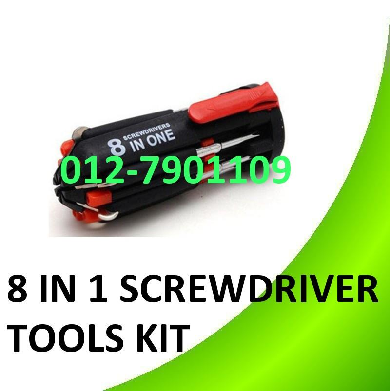 8 in 1 Multifunction Screwdriver Kit W 6 LED Torch Light Tools Set