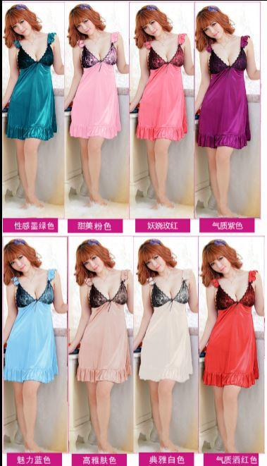 8 colours Silk Lingerie Nightdress Sleepwear with MB316