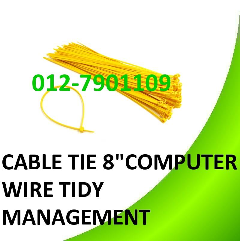 "8"" inch 4x200mm Cable Tie Computer Wire Cabling Tidy Management 100pcs"