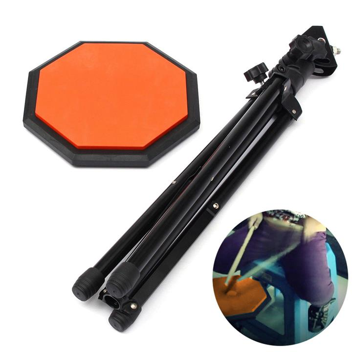 8'' Rubber Dumb Drum Practice Pads Stand & Adjustable Drum Sticks Set