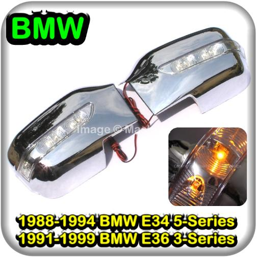 [8228] BMW E34 5 Series E36 3 Series Chrome Door Mirror Cover Trim LED