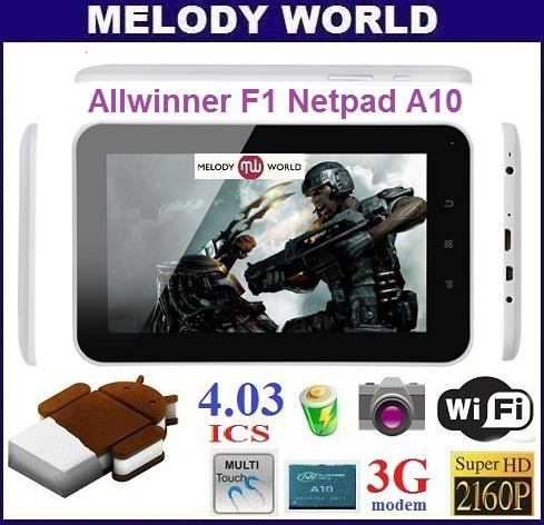 8GB Allwinner A10 F1 Netpad Momo9 MID Android 4.0 Tablet PC 1.5Ghz (Bl