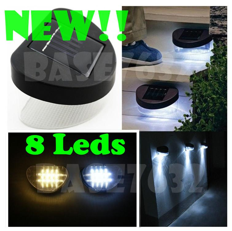 8Led 8 Led Solar Powered Wall Deck  Fence Light Mount Lamp Garden