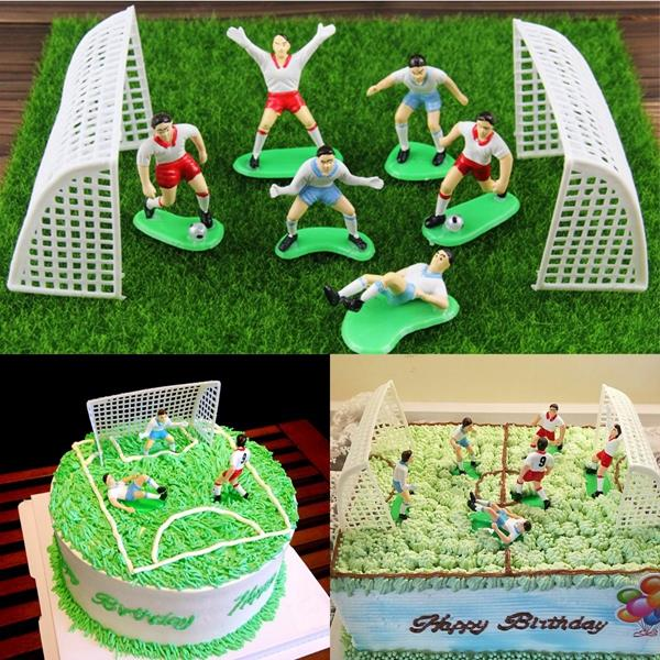8PCS Vintage Soccer Football Cake Topper Player Decor Tool Birthday Mo