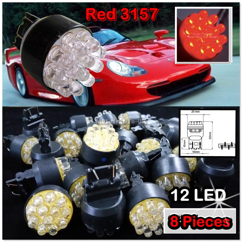 8x Red 3157 12 LED 3157 T25 Bulb Light 12v Wedge Base Dual Contact Bri