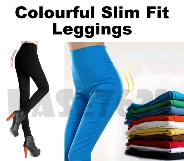 9 Colors  High Waist Elastic Slim Fit Skinny Legging Leggins Pant