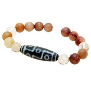 9 Eyed Dzi Bead with Natural Rutilated Quartz Bracelet