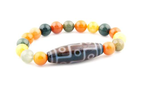 9 Eyed Dzi with Natural Jade Beads Bracelet
