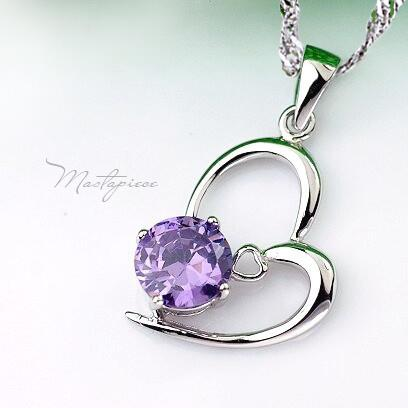 925 Silver heart w purple crystal Rhinestones pendant necklace - SH6