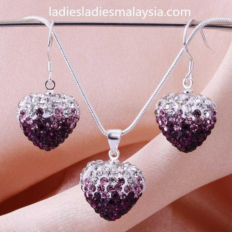 925 Sterling Silver Ocean Blue Gradient Heart Jewellery Sets