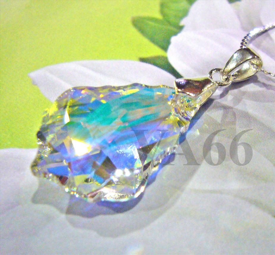 925 Sterling Silver Swarovski Strass Baroque Pendant #6090 Necklace